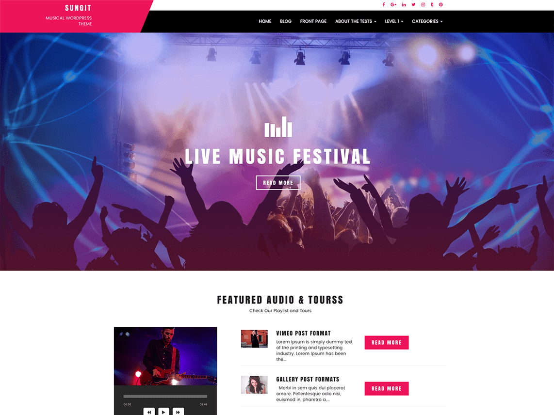 Sungit Lite WordPress Theme for Bands & Musicians