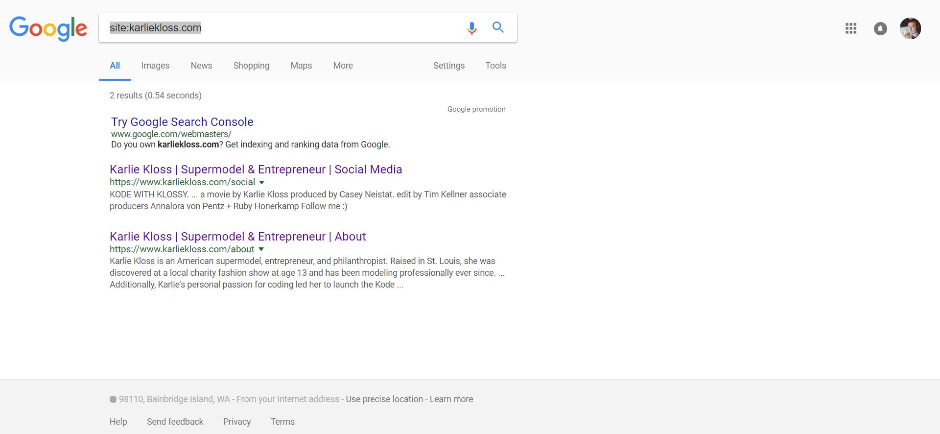 Google de-indexing karliekloss.com