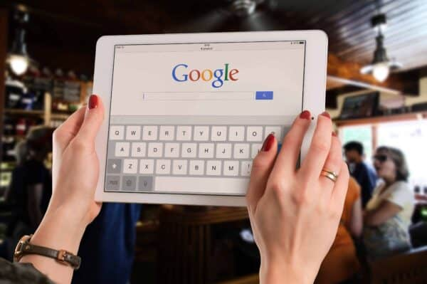 Google Search on mobile tablet